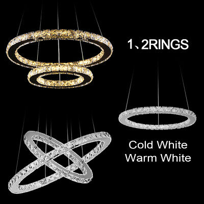 Modern LED Crystal Ring Chandelier Hanging Pendant Light Ceiling Lamp Fixtures