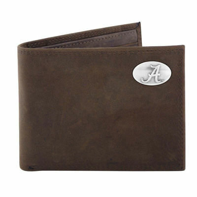 Alabama Crazy Horse Brown Leather BiFold Passcase Wallet Free Gift Tin