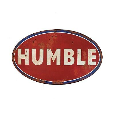 """Humble Oil Company Texas Vintage Style Tin 34"""" BIG Sign For Your Collection"""