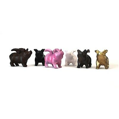 Six Little Pigs with Wings Color Choice Pink Gold Bronze Black White Rust 6pcs