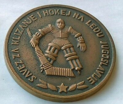 Ice Hockey Federation of Yugoslavia, antique medal, coin, token, very rarre !