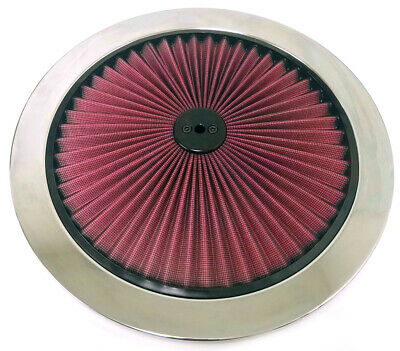 "14"" Red Flow Thru Washable Air Cleaner Lid Top Only Hot Rod BIG Block Muscle Car"