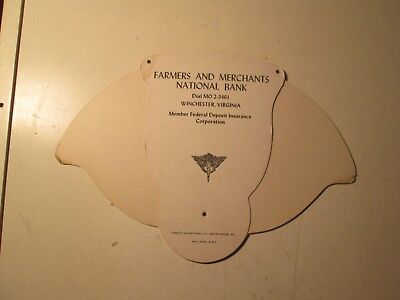 Vintage Farmers And Merchants National Bank Advertising Fan Winchester, Virginia