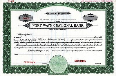 The Fort Wayne National Bank of Indiana SPECIMEN Stock Certificate