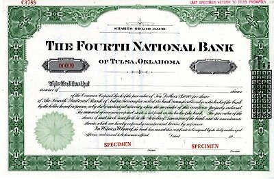 The Fourth National Bank of Tulsa, Oklahoma SPECIMEN Stock Certificate