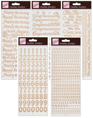 Outline Peel-off Stickers Scrapbook /& Card Making Various Alphabets /& Numbers