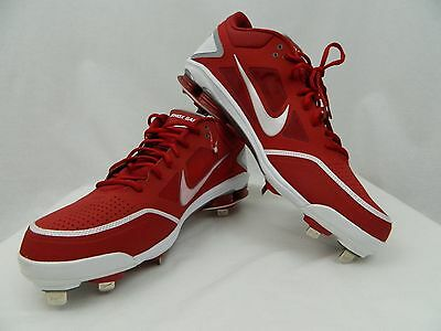 hot sale online fac10 57b35 NEW NIKE SHOX GAMER Red and White Metal Baseball Softball Cleats Men s Size  16