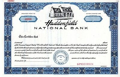 The Haddonfield National Bank of New Jersey SPECIMEN  Stock Certificate