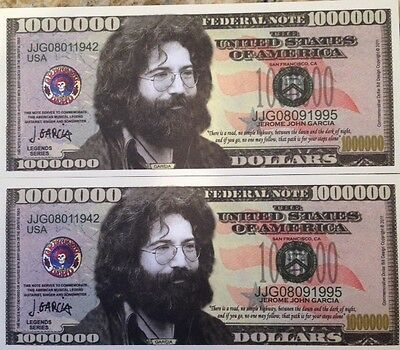 JERRY GARCIA GRATEFUL DEAD MILLION DOLLAR LOT of (2) NOVELTY NOTES USA SELLER !