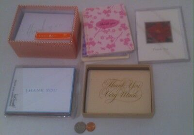 lot of 5 assorted thank you card boxes 58 cards and envelopes total