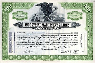 Industrial Machinery Shares of Group Securities - SPECIMEN Stock Certificate