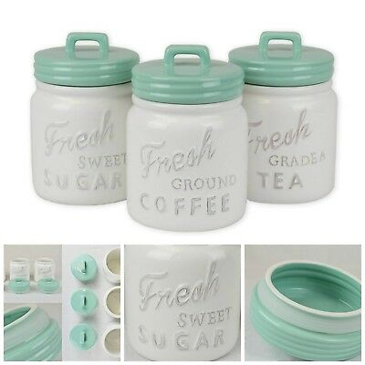 Hand Painted Ceramic Kitchen Canister With Airtight Lid Vintage 3 Piece Aqua