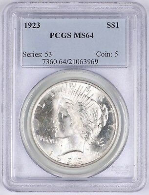 1923 Peace Silver Dollar $1 PCGS MS64