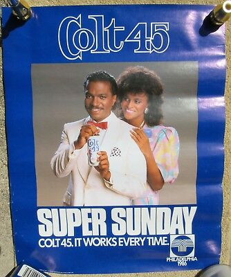 Colt 45 Beer Billy Dee Williams Hot Girl 1986 Super Sunday Poster Sign Phila PA