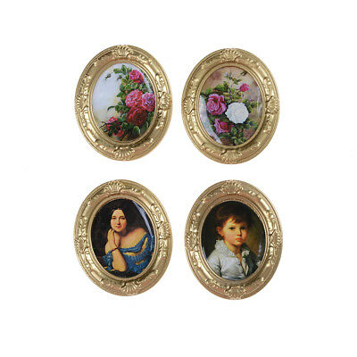 Miniature Dollhouse Framed Wall Painting 1:12 Scale Doll House Accessories JX