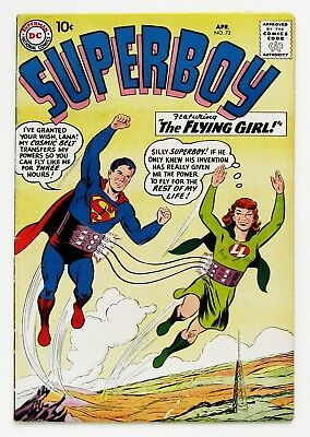 Superboy #72 / 1959 DC - Superman Featuring The Flying Girl / FN+ 6.5