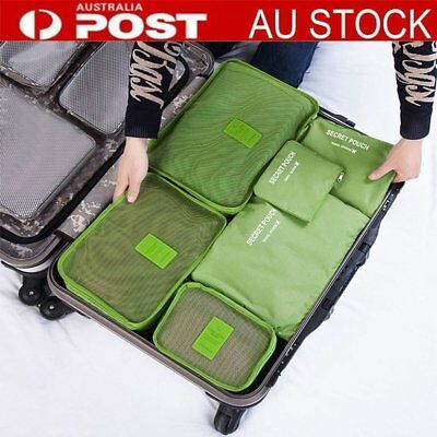6PCS Waterproof Travel Storage Clothes Packing Cube Luggage Organizer Pouch W_