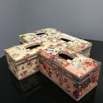 PU Leather Tissue Box Cover Floral Rectangle Paper Home Car Decor Storage Case