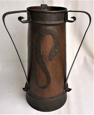 Lg. Antique Arts & Crafts Mission Era 3 Handle Hand Hammered Copper Vase Snakes