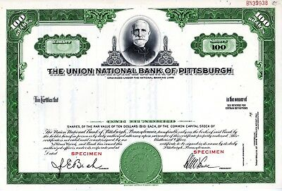 The Union National Bank of Pittsburgh, PA - SPECIMEN Stock Certificate