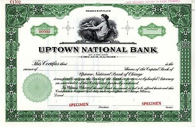 The Uptown National Bank of Chicago, Illinois SPECIMEN Stock Certificate