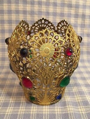 "Antique French Late 1800's Gilded Brass Filigree Crown with jewels 4-1/8"" tall"