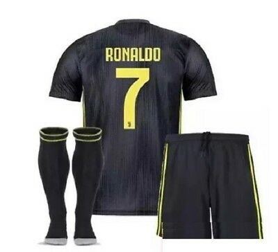 competitive price cafa8 6cda6 JUVENTUS RONALDO #7 Away Black Kids Jersey + Shorts + Socks Set All Youth  Sizes