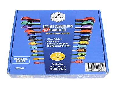 Gummerson Coloured 12 Piece Ratcheting Spanner Set in attractive gift box