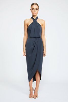 ef350c6bd03 NEW Shona Joy Core Knot Draped Cocktail Dress Charcoal Size AU 14 RRP  280