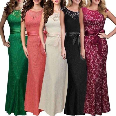 Women Sexy Maxi Dress Lace Long Skirt Cocktail Fashion Hollow Bow Backless