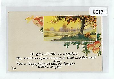 B2174cgt Greetings Thanksgivings for your folks and You vintage postcard