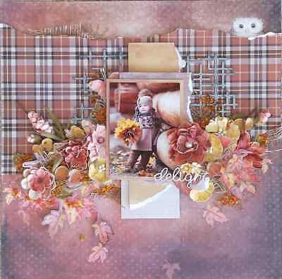 "Handmade Pre-made Mixed Media 12"" x 12"" Scrapbook Page Layout - Delight"