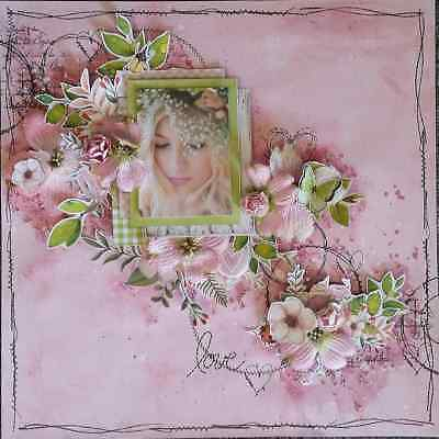 "Handmade Pre-made Mixed Media 12"" x 12"" Scrapbook Page Layout - Love"