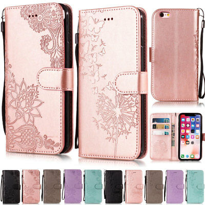 Lotus Wallet Leather Flip Cover Case For iPhone 5S SE 6 6S 7 8 Plus X XR XS Max