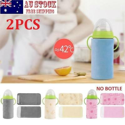 2X Baby Feeding Milk Bottle Warmer Portable Heating Outdoor USB Insulation Cover