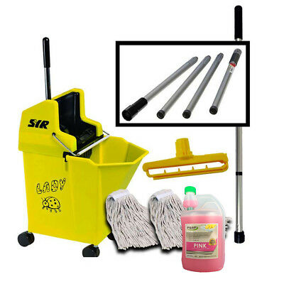Heavy Duty Mop Bucket on Wheels Mop handle pH Neutral Cleaner SYR Set - YELLLOW