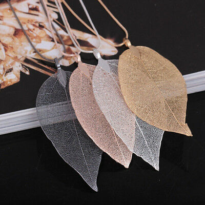 Trendy Laides Charm Leaf Pendant Necklace Long Sweater Chain Jewelry Gift 8C