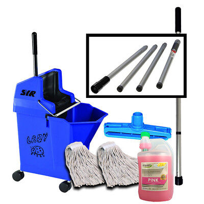 Heavy Duty Mop Bucket on Wheels Mop handle pH Neutral Cleaner SYR Set - BLUE