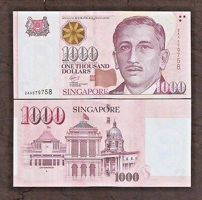 SINGAPORE 1000 1,000 DOLLARS P51 1999-2018 UNC Star,House or Triangle MONEY NOTE