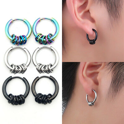 1PC Hoop Ear Clip Titanium Steel Punk Fake Earring Non Piercing Jewelry Gift New