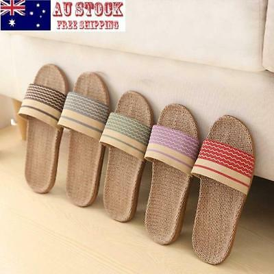 Men Women Flax Slippers Indoor Slippers Home Non-slip Thick Bath Summer Slipper