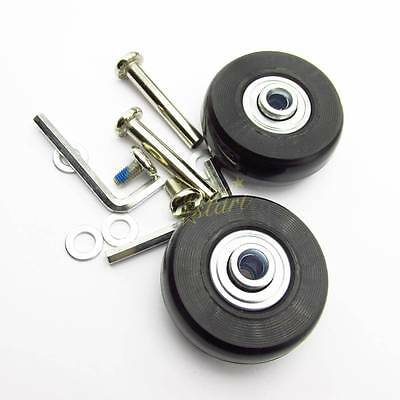 2Set Luggage Suitcase Replacement Wheels Axles Deluxe Repair OD 45mm