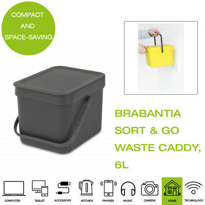Brabantia Sort and Go Food Waste Caddy, Plastic, 6L