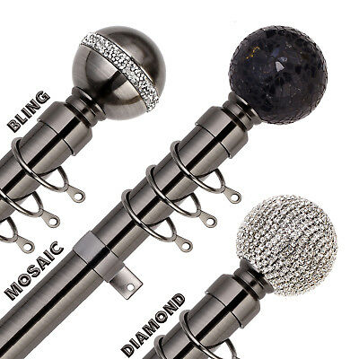 BLACK NICKEL Extendable Metal Curtain Pole Poles 28mm Includes Finials Rings