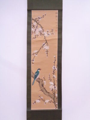 3770268: Japanese Wall Hanging Scroll / Hand Painted / Plum With Bird Artisan Wo