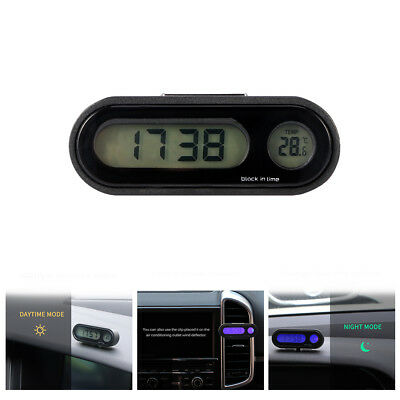 2 In 1 Clip-on Car LCD Digital Backlight Month Date Electronic Clock Thermometer
