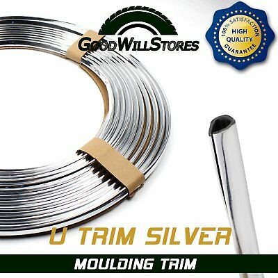 Chrome Moulding Strip Silver U-Trim Protector Car Door Edge Cover Tape Guard 9ft