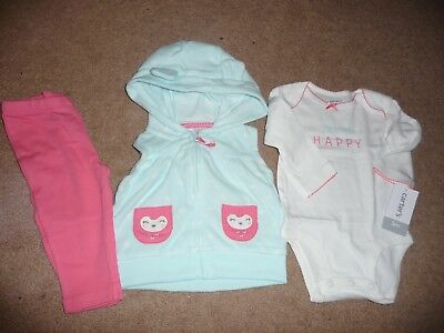 "NEW NWT Carters girls size 3 months 3 piece owl vest outfit ""always happy"" NICE!"