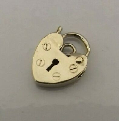 VINTAGE 9ct Gold Heart Padlock Fastener Clasp Findings Craft 0.7g Not Scrap