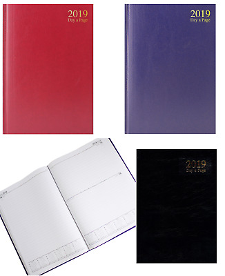 2019 Diary A4 or A5 Size Day Per Page Hardback Bound Cover Office & Desk Diaries